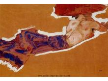 Reclining Semi-Nude with Red Hat (Gertrude Schiele)