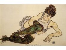 Reclining Woman with Green Stockings (Adele Harms)
