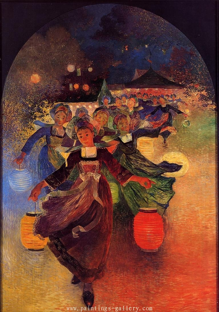 Breton Girls with Chinese Lanterns