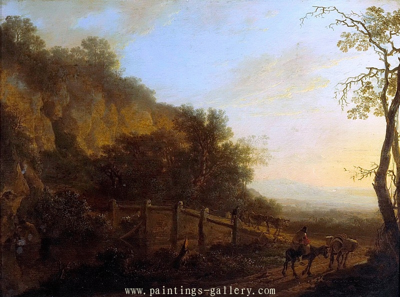 A landscape with a figure riding a donkey in the foreground