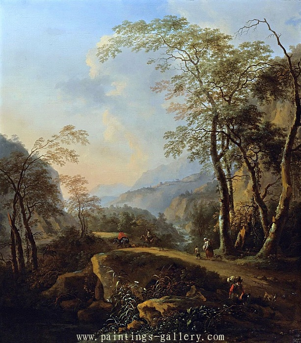 AN ITALIANATE LANDSCAPE WITH HORSEMEN AND PEASANTS