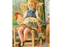 Boy Sitting With A Hen On His Lap