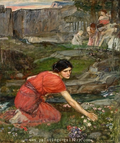Maidens picking flowers by the Stream study